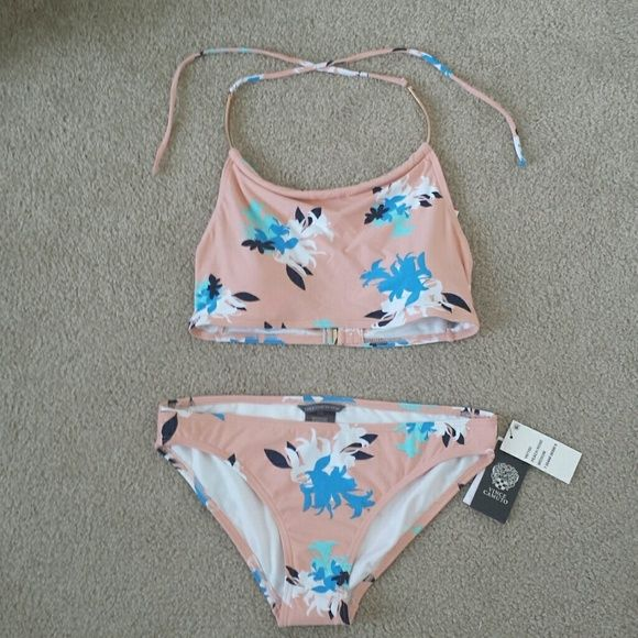 1DAY Vince Camuto chain halter floral bikini set BRAND NEW, NEVER WORN VINCE CAMUTO SNAKE CHAIN HALTER FLORAL BIKINI w/cup support  COLOR: light pink/peach with blue, white, black floral print TOP (SM) (pic #3 for model only) ($74) BOTTOM (MED) (pic #4 for model only) ($50) *THIS HAS NOT BEEN TRIED ON FOR HYGIENIC PURPOSES*  *please don't ask for me to model Vince Camuto Swim Bikinis