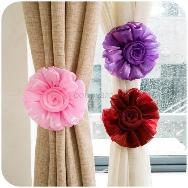 1 Pair Clip-on Rose Flower Window Bedroom Curtain Tie Backs Tieback Holder Voile Drape Panel. Type: Curtain Rose Flower Tieback. Color: Pink, Yellow, Puprle, Orange, Wine Red. Flower shape design is elegant and attractive.   eBay!