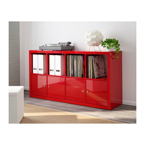Kallax shelving unit high gloss red pain the cabinet for Ikea box shelf unit