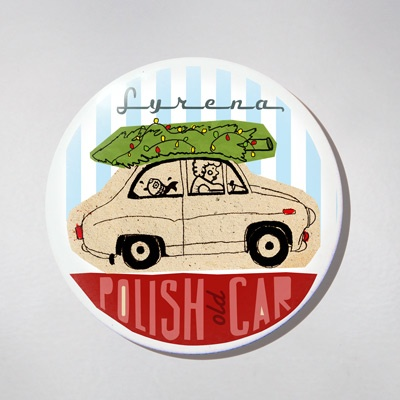 Fridge Magnet - Old Polish Car - Syrena.  The colourful souvenir from Poland for your fridge or magnetic board. $10 zł.