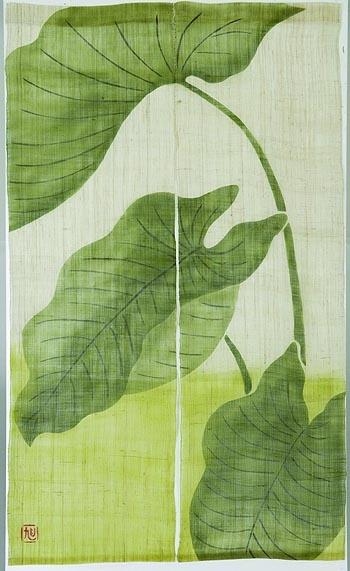 textile : rideau japonais, motif feuillage exotique, vert