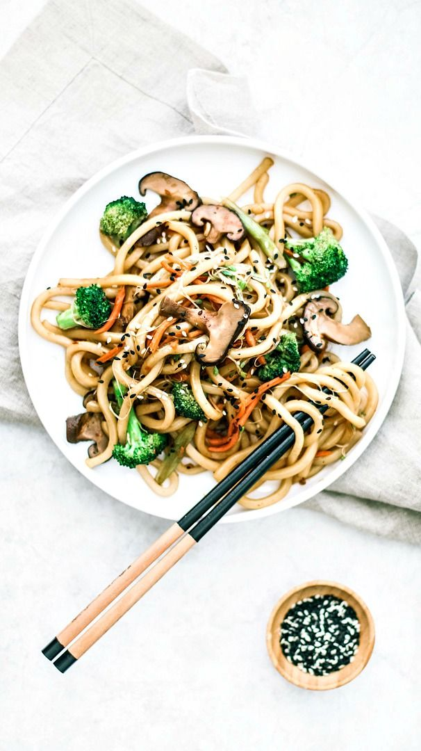 Spicy Udon Noodle Stir Fry With Shiitake Mushrooms Recipe Shiitake Mushrooms Recipes Udon Noodles Mushroom Recipes