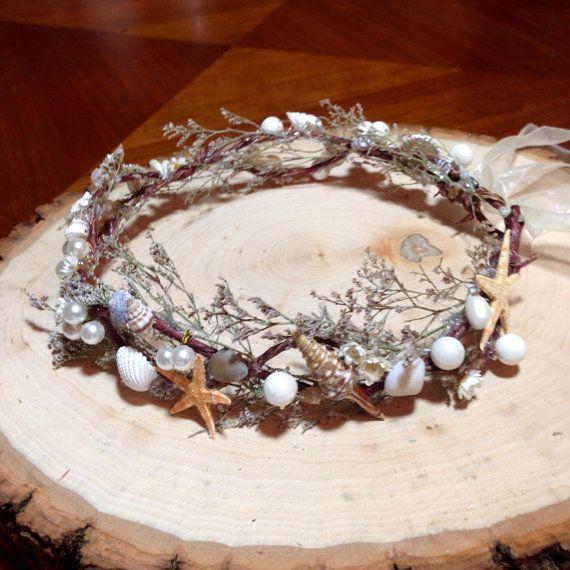 Sea shell crown beach wedding crown flower beach by AccentsByAlex