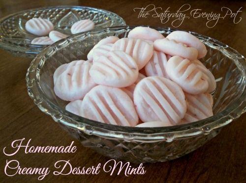 Dye-Free Homemade Creamy Dessert Mints - Easy to make and delicious | Click here for recipe: http://thesaturdayeveningpot.com/2013/12/homemade-dessert-mints-recipe-dye-free-secret-recipe-club-reveal.html