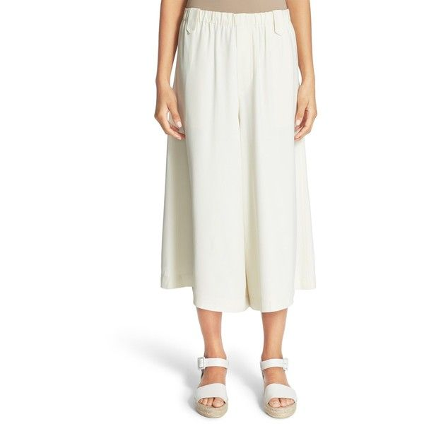Helmut Lang Pull-On Satin Back Crepe Culotte (445 DKK) ❤ liked on Polyvore featuring pants, ivory, white trousers, white crepe pants, wide leg trousers, pull on pants and white pull on pants