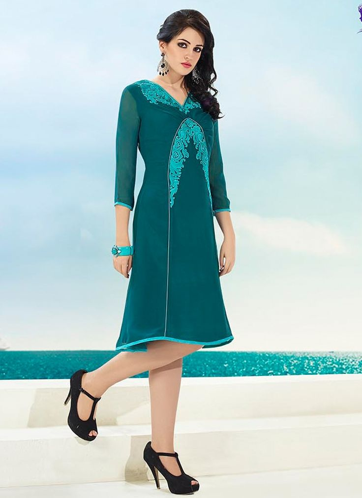 Same color combination embroidery party wear kurti