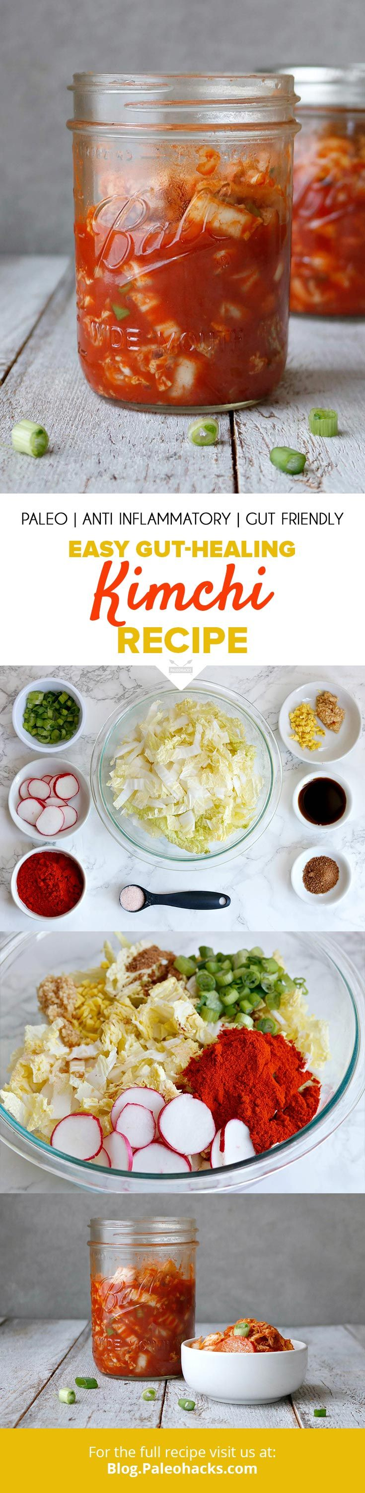 Shredded cabbage ferments with radishes, scallions, and ginger  for a homemade, Paleo-friendly kimchi rich in gut-healing probiotics. Get the full recipe here: http://paleo.co/kimchi