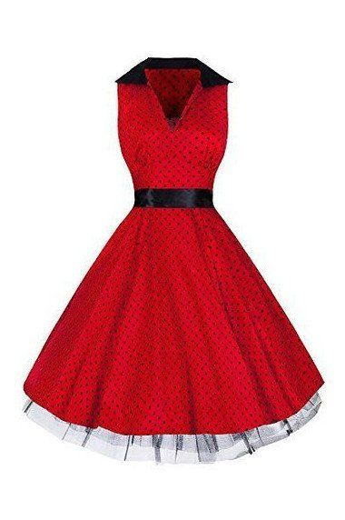 Red and Black Polka Dot Retro Swing Sleeveless Dress