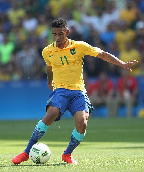 Gabriel Jesus of Brazil controls the ball during the Semi Final match between…