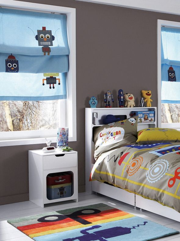Vertbaudet have a fantastical array of robot room accessories like the matching robot blinds, groovy robot duvet cover and pillows and a marvellously mechanical robot lamp. The transformation is impressive and turns a plain bedroom into a robotical wonderland! The only thing that's missing is the living robot to occupy the room…