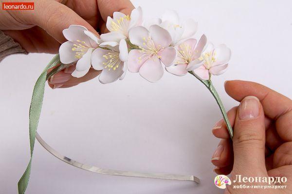 Ободок из фоамирана «Яблоневый цвет» - | Уроки творчества | Леонардо хобби-гипермаркет - сделай своими руками