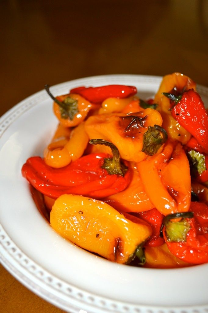 Roasted Sweet Mini Peppers. I love these little peppers raw or roasted ...