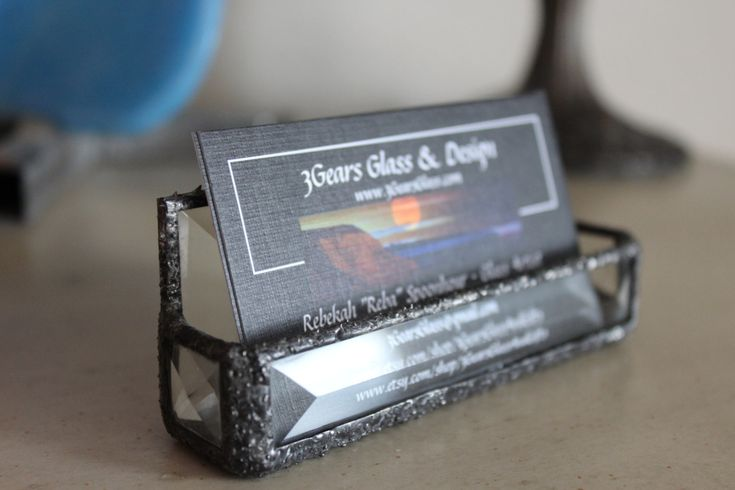 Beveled glass business card holder, stained glass bevels, glass business card holder, decorative glass business card holder, business cards by 3GearsGlassAndGifts on Etsy
