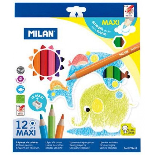 Creioane colorate groase Milan Maxi 12 culori hexagonale - magazinbirotica.ro
