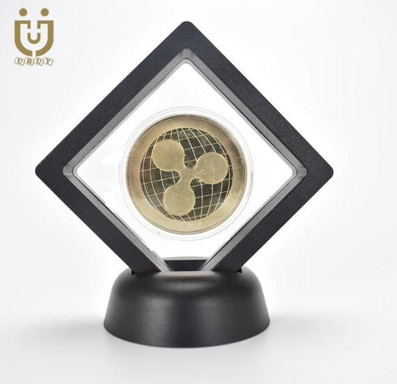 Crypto Coins In Display Cases Bitcoin XRP LitecoinGold or silver colours available.