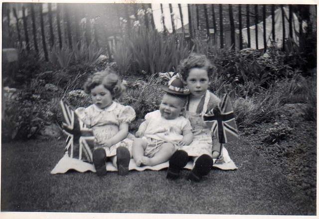 Rathbone Girls, Coronation Day, 2nd June 1953    Gloria, Christine and Jacqueline in the garden of 16 Third Avenue, Clayton, Manchester, Queen Elizabeth II Coronation 1953