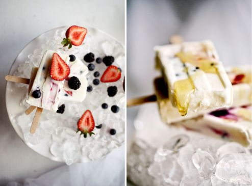 Greek Yogurt Berry Pops with Honey...everything I put in my breakfast ...