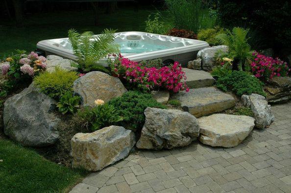 backyard ideas budget friendly inspiration, gardening, outdoor living, spas, Hot Tub In Garden Effect