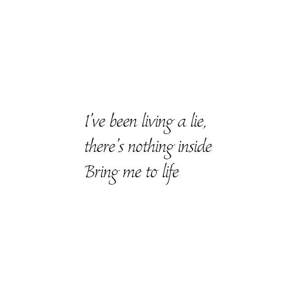 Evanescence - Bring Me To Life lyrics ❤ liked on Polyvore