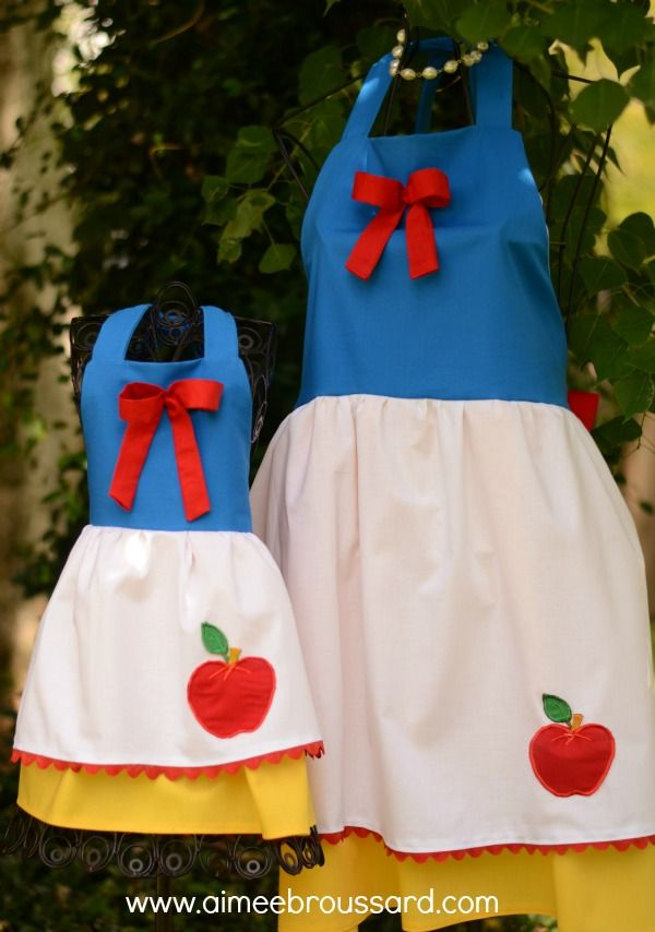 You could make an apron for each Disney Princess! This one is Snow White. Just use a simple apron pattern and embellish to tailor the look for each character. Imagine all the little details you could add! Or, if you aren't good at sewing you can buy them via Aimee Broussard.
