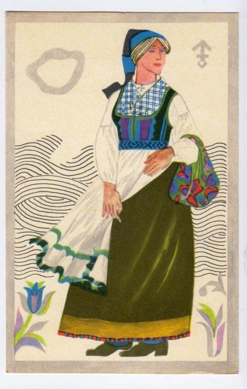 PÕLVA, Põlvamaa, Estland Postkaart EESTI rahvariided Kunstnik V.Tolli 1973