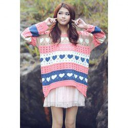 $7.17 Casual Loose Fitting Scoop Neck Heart Print Hollow Long Sleeve Sweater for Women