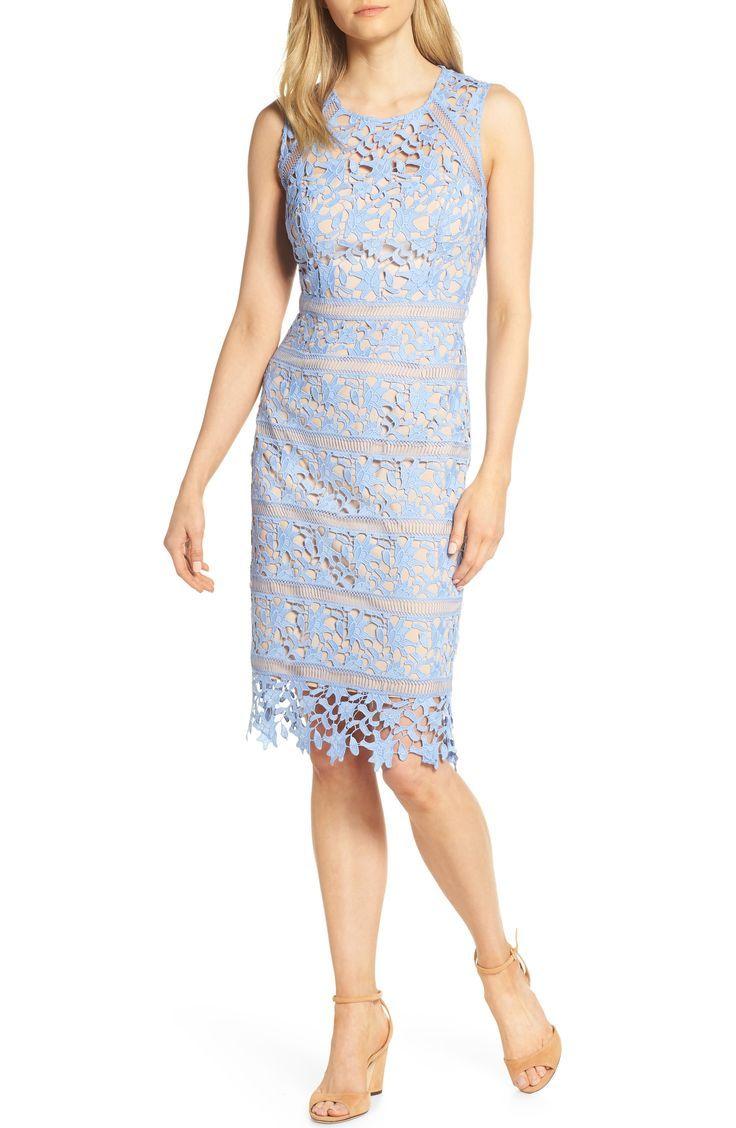 Light Blue Lace Sheath Dress For Spring 2019 Affiliate Weddingguest Springdress Springwedding Midi Sheath Dress Trendy Cocktail Dresses Lace Midi