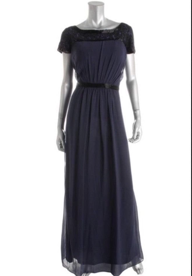 AIDAN MATTOX Blue and Black Beaded Keyhole Back Gown Size 4 $440 NWT #064467200