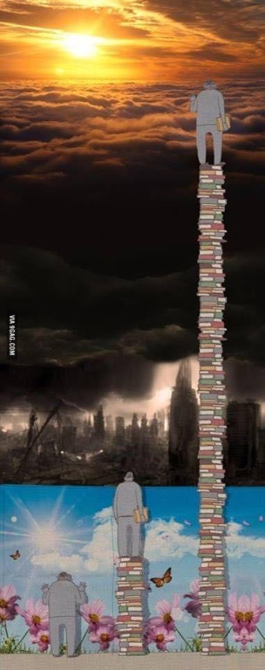 「本を読むことで視野が広がり、そして違う世界が見えてくる」というのがどういうことか一発でわかる風刺画.これが勉強だ.