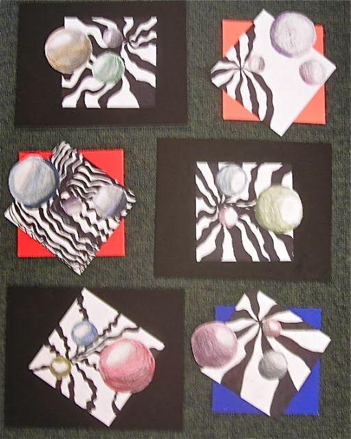 Fine Lines: 3rd Grade:  Floating Spheres, op art