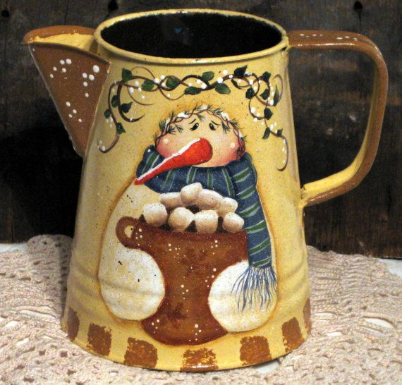 Snowman and gingerbread metal coffee pot hand por KathysKountry, $24.00
