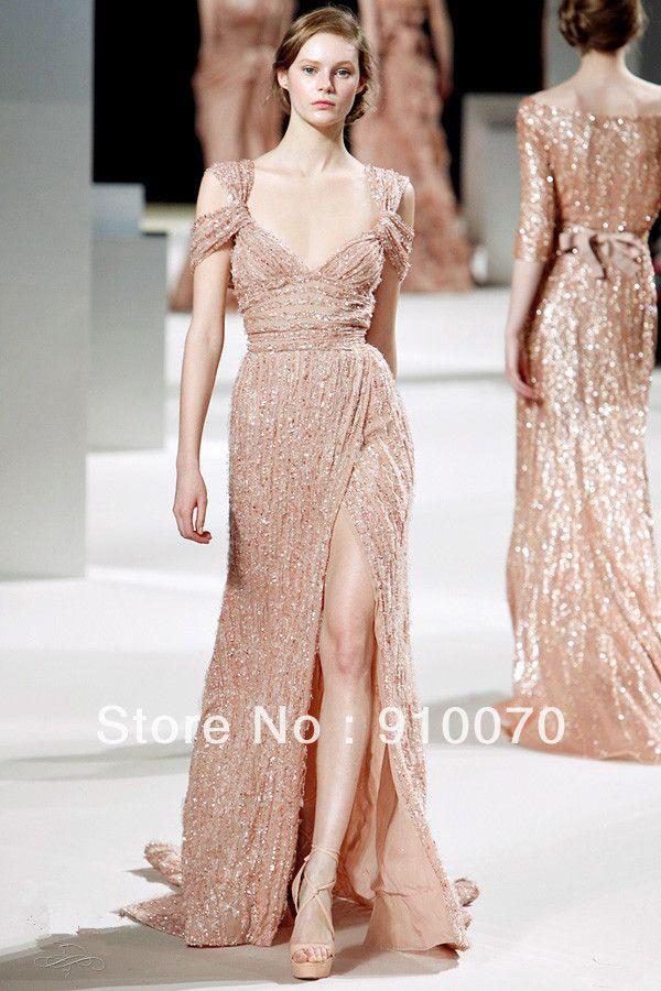 Luxurious elie saab v neck short sleeve floor length for Elie saab blush wedding dress
