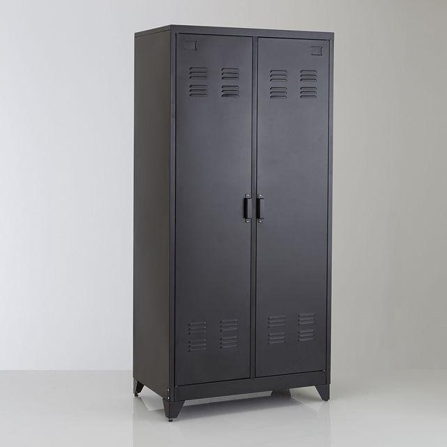 Armoire vestiaire 2 portes en métal, Hiba.   128 x 41 cm la redoute penderie : barre de penderie et 1 étagère1/2 lingère : 3 étagères réglables et amoviblesCaractéristiques de l'armoire vestiaire, métal, 2 portes, Hiba :Métal peinture époxyRetrouvez le vestiaire 1 porte et d'autres...