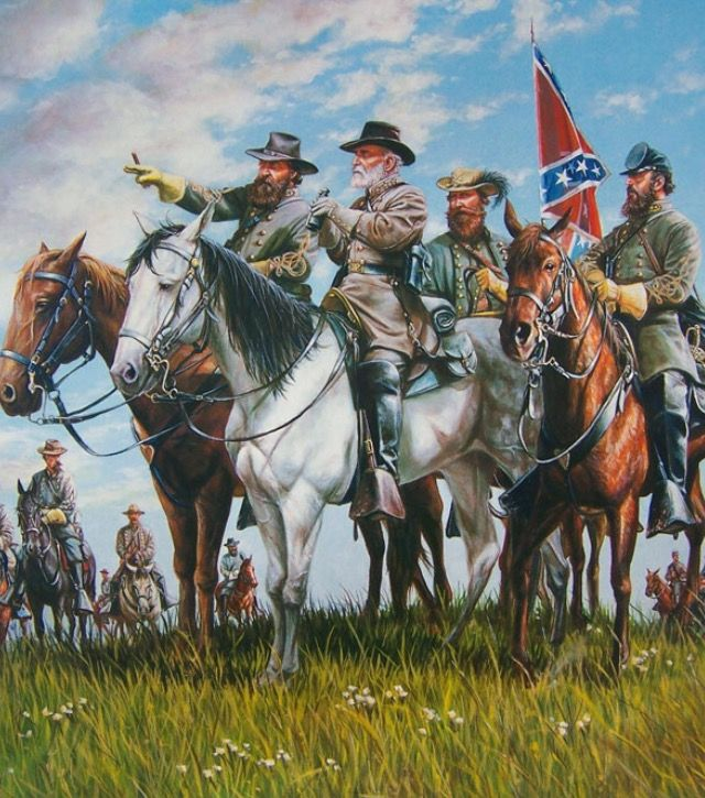 Confederate Generals: Longstreet, Lee, Stuart and Jackson.