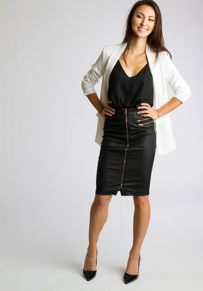 Gold Zipper Front Leather Pencil Skirt