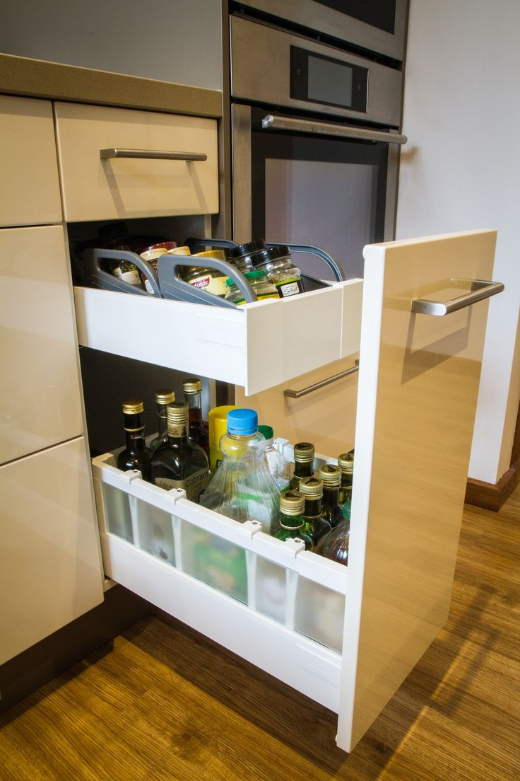 Oil drawer. Spice drawer. Hidden drawer. www.thekitchendesigncentre.com.au