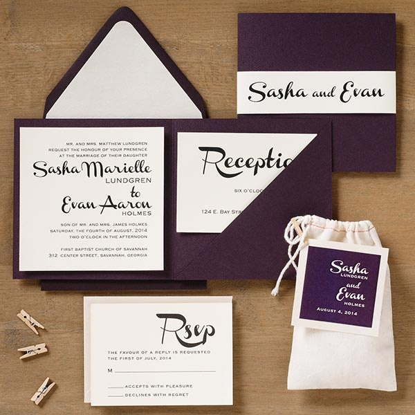 French Script wedding invitation suite - Sasha & Evan