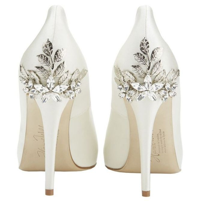 Super different. These would probably be best for brides with shorter dresses so people can see the detail on the heel. I can't imagine wearing something this high all day but pretty nonetheless
