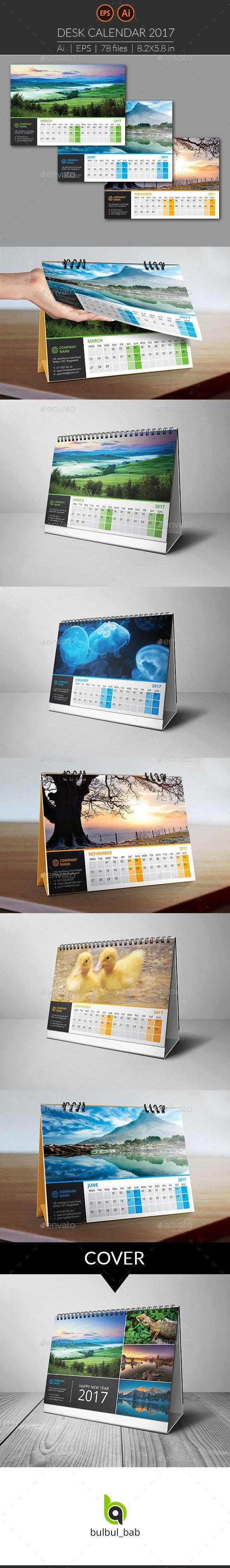Desk Calendar 2017 Template Vector EPS, AI Illustrator