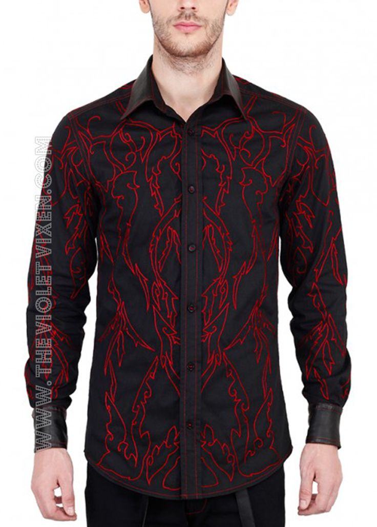 Ummm can I have a man that wears this? Hot! Black shirt with red detail, super sexy! The Violet Vixen - Bitter Thorns Blood Shirt, $137.00 (http://thevioletvixen.com/clothing/mens/shirts/bitter-thorns-blood-shirt/)