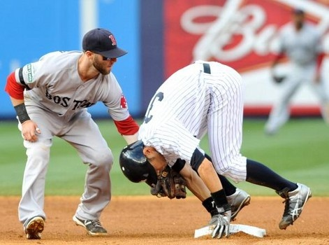The Yankees vs. Red Sox latest three-game series will end in New York tonight according to an August 19 report from SB Nation. On Friday, the Yankees won the game on a Derek Jeter homerun, and then on Saturday, the Red Sox won the game, so they are tied 1-1 for the series. http://www.examiner.com/article/yankees-vs-red-sox-2012-live-stream-and-tv-schedule