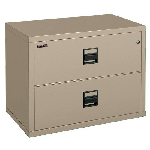Fireproof Two Drawer Lateral File 44W Sand Carries UL Class 350 rating. Explosion and impact resistant. High-security key lock. Replaceable body panels. Lifetime guarantee on all mechanical parts.  #FireKing #OfficeProduct