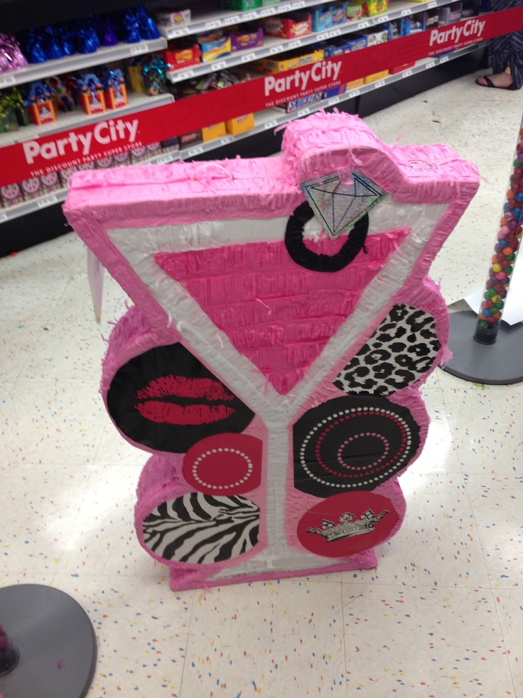 For a bachelorette party. Get a cute piñata like this. Fill it with condoms, mini booze bottles etc.