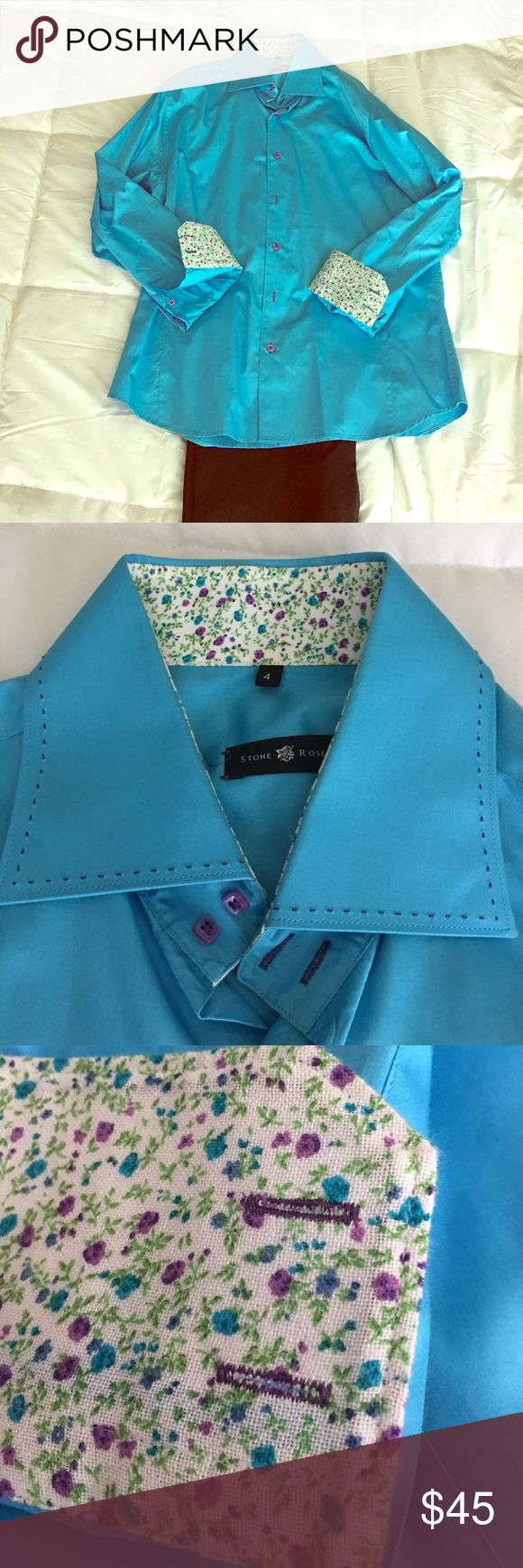 Stone Rose Men's Button Down- size L Mint Condition bright blue Stone Rose shirt with floral accents under cuffs and color. Stone Rose Shirts Dress Shirts