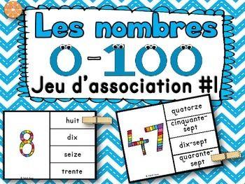 Nombres - 0-100 - jeu d'association. Idéal pour les centres de mathématiques. Les élèves doivent associer le chiffre au mot qui correspond.