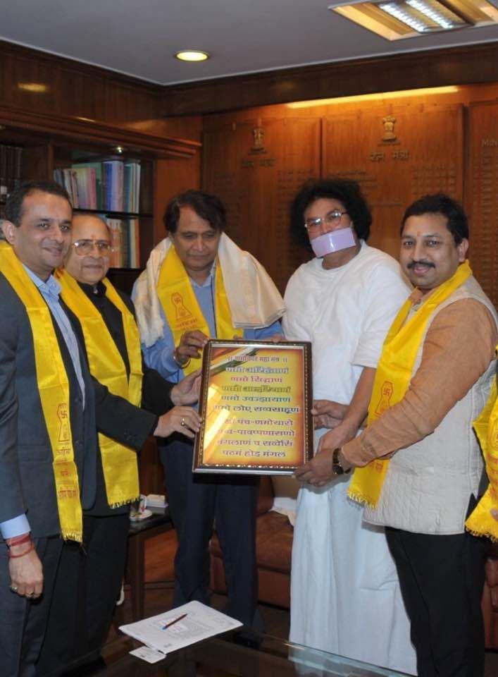 Manoj Jain with Shri Suresh Prabhu (Railway Minister) jain delegation with Acharya LoKash Muni and others