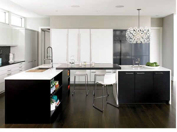 An urban-cool suburban kitchen. I love the sleek dark word contrasted against the airy  minimalist white!
