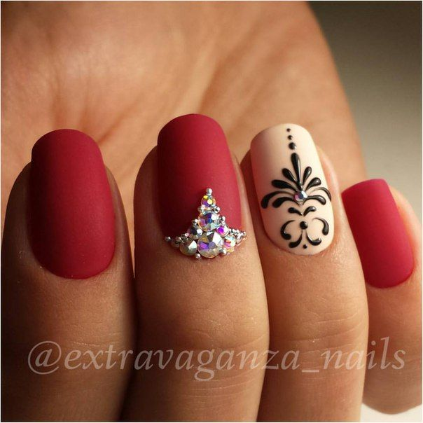 Matte red nails with intricate design - 25+ Beautiful Red Nail Designs Ideas On Pinterest Red Black