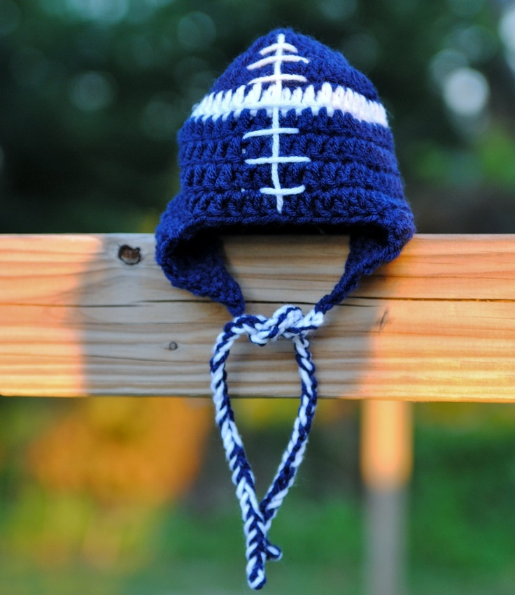 Football Hat Dallas Cowboys Baby Football Hat Newborn hat Baby hat Football beanie Infant hat Earflaps hat Take home Shower gift Photo prop. $20.00, via Etsy.