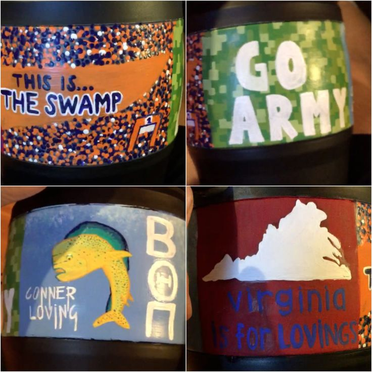 "Painted bubba keg, Florida Gators ""this is the swamp"", go army, Guy Harvey -Beta Theta Pi, Virginia"